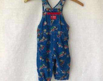 Vintage Osh Kosh Overalls - Size 18 Months - Children's - Construction - Trucks - Cat - OshKosh - Blue - Boys