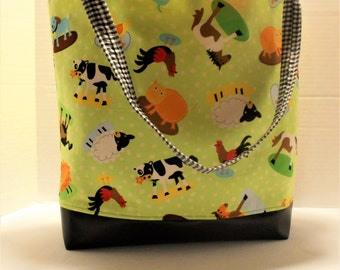 Farm Animals Diaper Bag, Farm Animals Tote, At the Farm Tote, Farm Animals Baby Bag, Farm Animals Nursery, Farm Animals Shower gifts