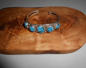 Vintage Native American Turquoise Cuff Bracelet Jewelry Small Wrist