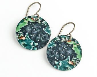 Black & Green Peeling Paint Photo Earrings on Titanium Ear Wires