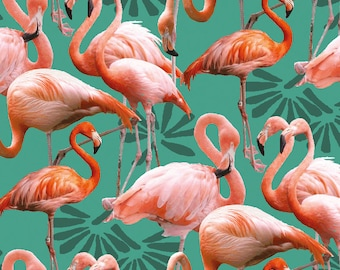 Flamingo Island fabric birds, flamingo fabric patchwork and quilt, 1/2 meter