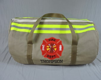 Firefighter Duffle bag tan, Firefighter gift, tan bunker gear look, FDD100, firefighter graduation gift, Christmas gift, firefighter tote