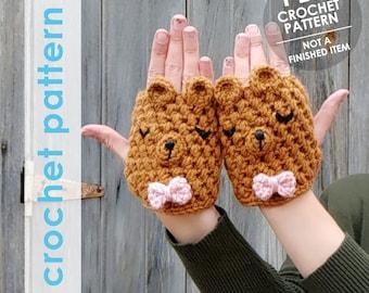 fingerless gloves crochet pattern,  texting gloves, fingerless mittens, crochet animal gloves, hand warmers,fingerless mitts, bear gloves