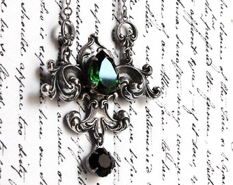 Gothic jewelry Gothic necklaces Green crystal necklace Medieval Necklace lavalier necklace Black swarovski necklace Silver Fleur De Lys Lis