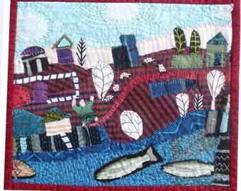 Fiber art  Fabric collage  5 sheep and 3 big Fish
