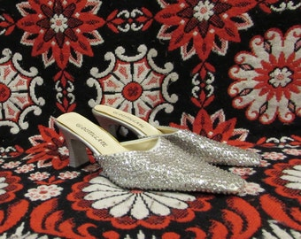 Silver Sequin Slip On/Mule