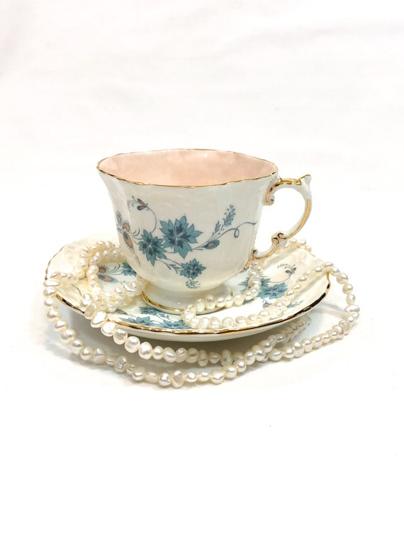 Aynsley Tea Cup Saucer, Teal Blue & Peach Flowers, Embossed Square Cup, 1930s English Teacup, Antique Shabby Chic Bone China