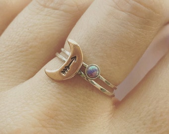 moon and purple opal ring set sterling silver, purple opal ring, stacking ring, arrow ring, moon ring, sterling silver jewelry