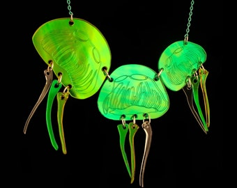 PANIKA laser cut holographic green yellow jellyfish statement necklace