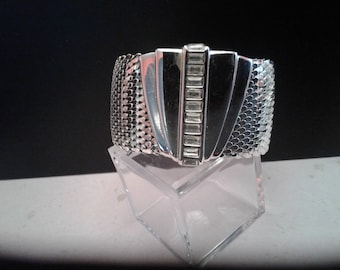 Dramatic Art Deco Revival Cuff With Baguette Shaped Rhinestones