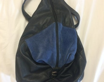bag black leather and dark blue suede backpack purse