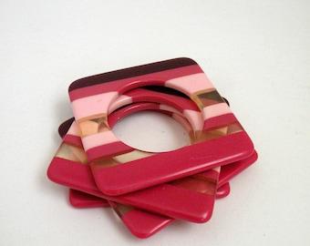 Mauve Pink and Burgundy Vintage Napkin Rings