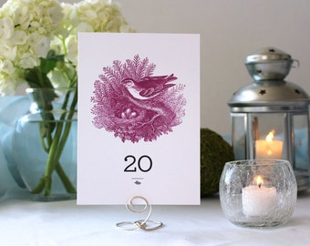 Bird Nature Romantic Pretty Table Number Flower Wedding Party Marker