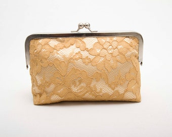 Big Sale - Gold frame purse clutch with  lace ,bridesmaid clutches ,bridal clutch ,bridesmaid gift,SILVER FRAME purse