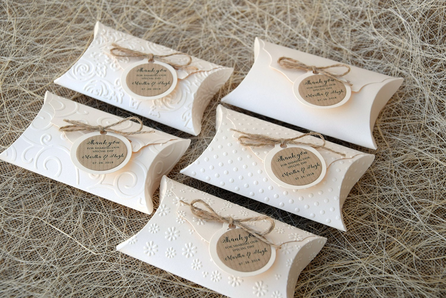 Wedding favor boxes 5 Party Favor Boxes Embossed Party
