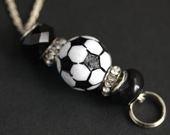 Soccer Lanyard. Black and White Lanyard. Badge Lanyard Soccer Mom Lanyard. Badge Necklace Soccer Coach Lanyard. Beaded Lanyard. Badge Holder