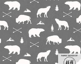 Woodland Animals Fabric By The Yard - Winter Cabin Bear Bison Wolf Adventure Print in Yards & Fat Quarter