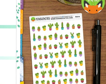 Cactus MINI - Mixed Succulent Plant Plants Gardening - Planner Stickers (F0016)