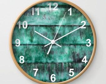 Turquoise clock, teal wall clock, home decor art clock, texture art clock, striped wall clock, art textures clock, abstract photo clock art