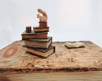 Handcarved Pinus Cembra wood sculpture with books and a squirrel miniatures - Art and Nature