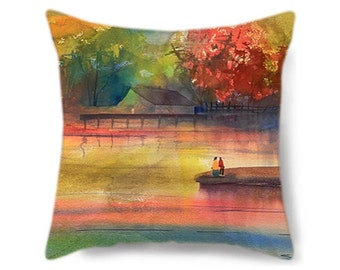 Decorative Pillow Cover, Colorful Pillow, Gift for Her, Spring, Wedding Gift, Lake House Decor, Lake House Pillow Cover