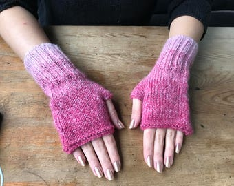 Fingerless Gloves, Pink Gloves, Knit Fingerless, Arm warmers, Womens Fingerless, Mittens, Winter gloves, Winter Accessories, Boho gloves