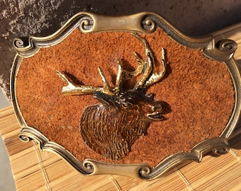 "Vintage 70's ""ENAMEL ELK BUCKLE"" by Raintree with a Suede Leather Background  Very Handsome Belt Buckle"