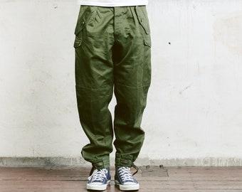 Mens Army Pants . Vintage Military Style Work Trousers Khaki Pants 90s Army Trousers Mens Cargo Pants Vintage Army Pants . size Medium