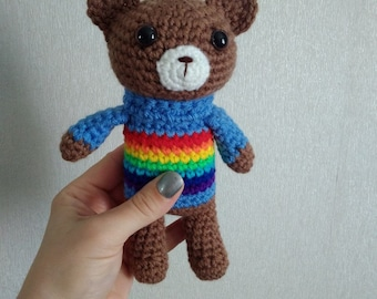 Rainbow Baby Crochet Rattle Crochet Teddy Bear New Baby Gift Baby Shower Gift Baby Rattles Crochet toy Rainbow Animals Eco Toys in Blue