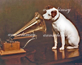 "Nipper the Dog - Dog Art, Jack Russell Terrier, ""His Master's Voice"" - Old RCA Advertisement #114"