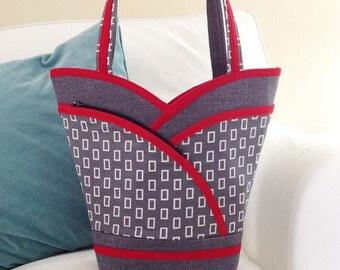 Sewing Pattern: DIGITAL, Petal Pockets Purse, Tote & Cosmetic Bag, pdf, shoulder bag, handbag, lots of pockets, make up bag,