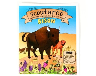 Scoutaroo Zine #4: Bison || Activity Book for Kids Learning Play Children's Book Coloring Mazes Educational Hand Made Comics
