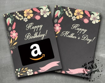 Floral Gift Card Holder | Happy Birthday! | Happy Mother's Day!  |  Pretty Flowers & Ribbon Gift Card Holder