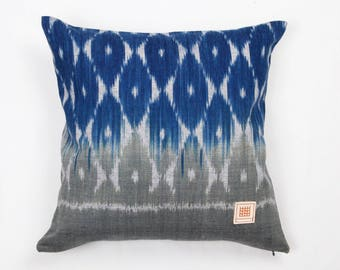 Natural indigo dyed hand woven ikat cotton pillow cover