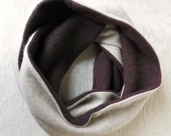 Cashmere Infinity Scarf, Eco Friendly Repurposed Cashmere Sweater Scarf, in Chocolate Brown and Tan