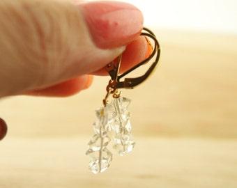 COLETTE - Herkimer Diamond Earrings - Double -Terminated Quartz - Gold Filled - Handmade