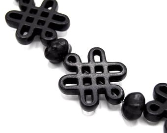 1 strand of synthetic turquoise beads dyed black Chinese knot and Pearl Lantern-1 stand