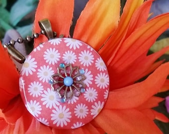 Daisy washer Necklace with flower