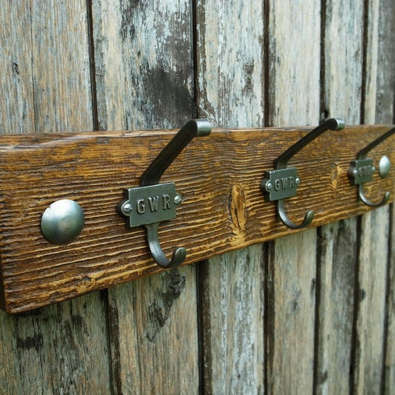 Vintage Industrial GWR Coat Hooks Rustic Coat Rack Reclaimed Wood Furniture (3 hooks 50cm)