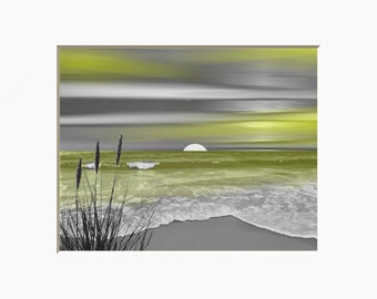 Yellow Gray Coastal Decor, Modern Ocean Moon Beach Yellow Home Decor Matted Picture