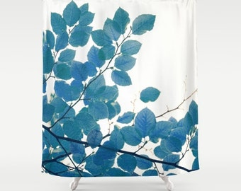 fabric shower curtain- nature photography- blue and white-leaves-trees-modern home decor- bathroom decor