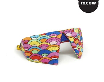 GOOOD Cat Collar | Dapper Sharp - Happy Waves | 100% Multi Colours Cotton Fabric | Safety Breakaway Buckle