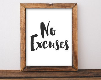 Fitness Printable Wall Art, No excuses printable quote, home gym decor, fitness quote, running printable run print workout poster healthy