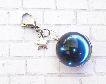 Summer Night Sky Planner Charm - Traveler's Notebook Journal Accessories - Space - Galaxy - Universe - Alien - Celestial - UFO - Astrology