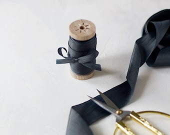 """Charcoal Gray Hand-Dyed Silk Ribbon (with Wooden Spool) - 5 yards - 1.25"""" wide"""