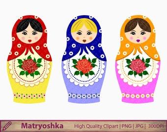 Matryoshka clipart, russian nesting dolls clip art, babushka graphics, scrapbooking, digital instant download, png jpg 300dpi
