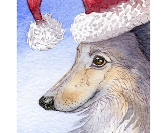 Sheltie dog 8x10 art print from a watercolor painting by Susan Alison Santa hat