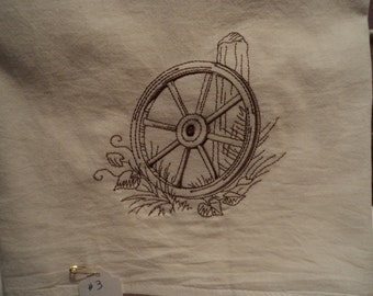Wooden Wagon Wheel Floursack Dishtowel (kitchen towel, tea towel) machine embroidered