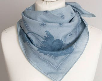 """vintage Square scarf, polyester scarf, fabric women scarf shawl 67cm / 26"""" floral scarf blue laves"""