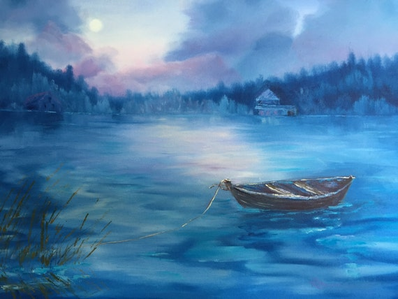 Night Painting, Nocturne, Large Oil Painting, Lake Painting, Gifts for a Woman, Moon Art, Blue Boat